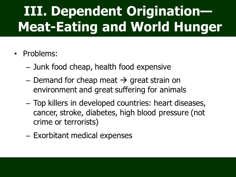 Problems: – Junk food cheap, health food expensive – Demand for cheap meat  great strain on environment and great suffering for animals – Top killers in developed countries: heart diseases, cancer, stroke, diabetes, high blood pressure (not crime or terrorists) – Exorbitant medical expenses III.
