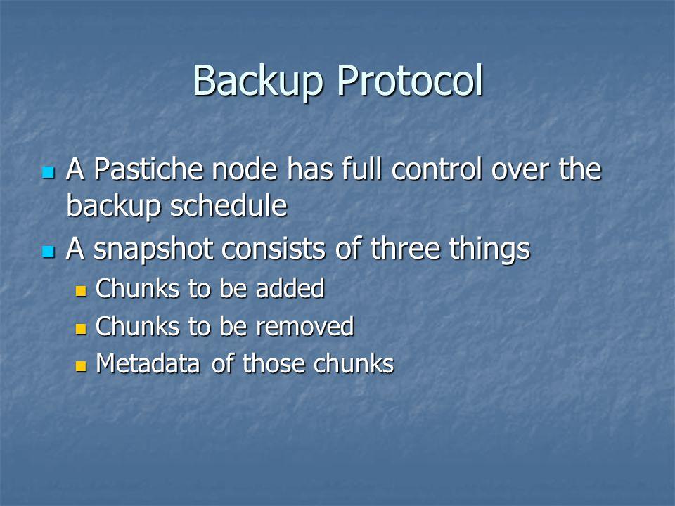 Backup Protocol A Pastiche node has full control over the backup schedule A Pastiche node has full control over the backup schedule A snapshot consist