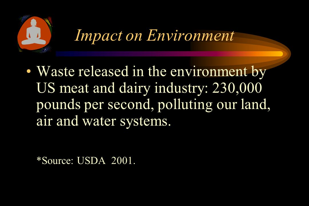 Impact on Environment To produce 1 lb. of meat, an average of 40 lb of vegetation is used.