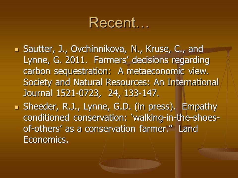 Recent… Sautter, J., Ovchinnikova, N., Kruse, C., and Lynne, G.