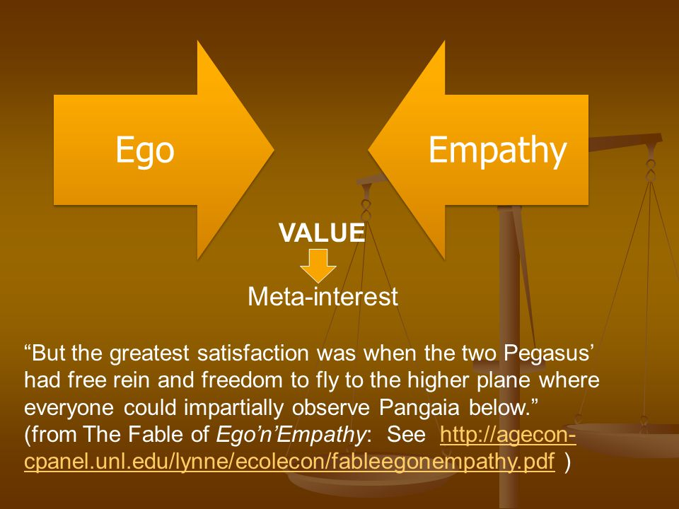 Ego Empathy VALUE Meta-interest But the greatest satisfaction was when the two Pegasus' had free rein and freedom to fly to the higher plane where everyone could impartially observe Pangaia below. (from The Fable of Ego'n'Empathy: See http://agecon- cpanel.unl.edu/lynne/ecolecon/fableegonempathy.pdf )http://agecon- cpanel.unl.edu/lynne/ecolecon/fableegonempathy.pdf