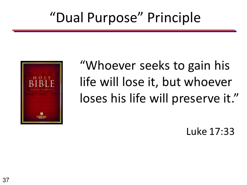 """Dual Purpose"" Principle ""Whoever seeks to gain his life will lose it, but whoever loses his life will preserve it."" Luke 17:33 37"