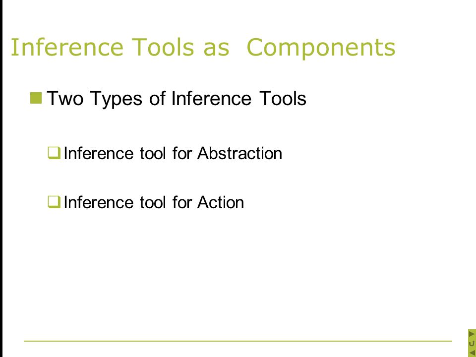 Inference Tools as Components Two Types of Inference Tools  Inference tool for Abstraction  Inference tool for Action