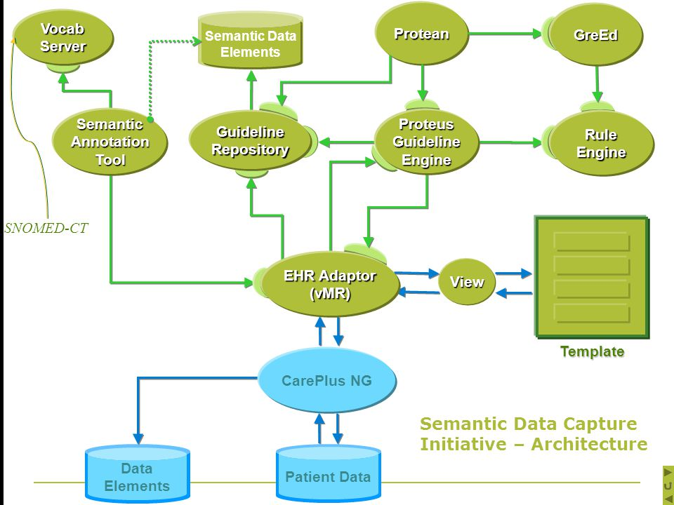 Data Elements Patient Data Vocab Server Patient Data Semantic Data Elements Template Protean CarePlus NG View EHR Adaptor (vMR) Proteus Guideline Engine GreEd Rule Engine Guideline Repository Semantic Annotation Tool Semantic Data Capture Initiative – Architecture SNOMED-CT