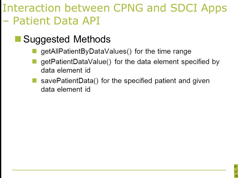 Interaction between CPNG and SDCI Apps – Patient Data API Suggested Methods getAllPatientByDataValues() for the time range getPatientDataValue() for the data element specified by data element id savePatientData() for the specified patient and given data element id