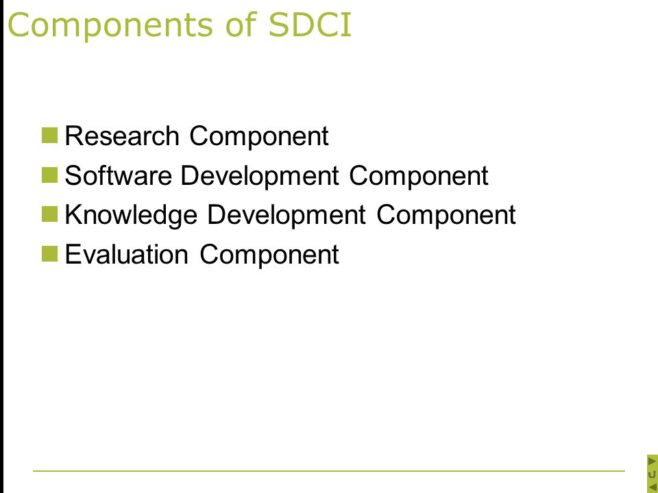 Components of SDCI Research Component Software Development Component Knowledge Development Component Evaluation Component