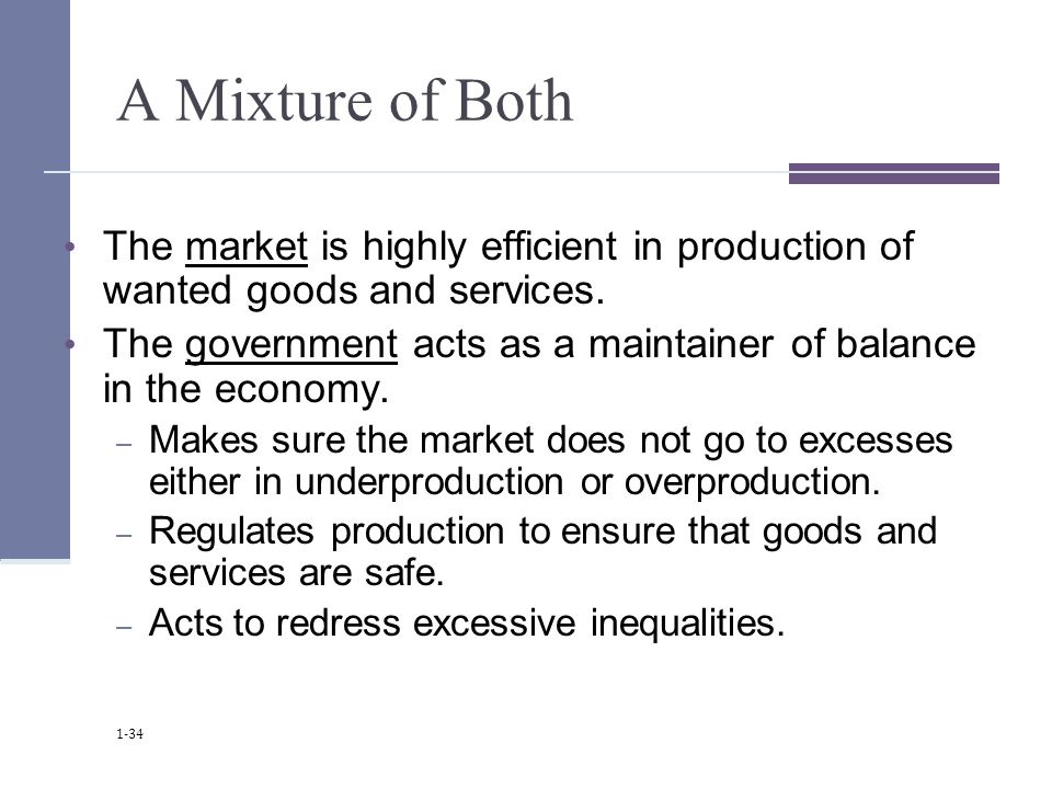 A Mixture of Both The market is highly efficient in production of wanted goods and services.
