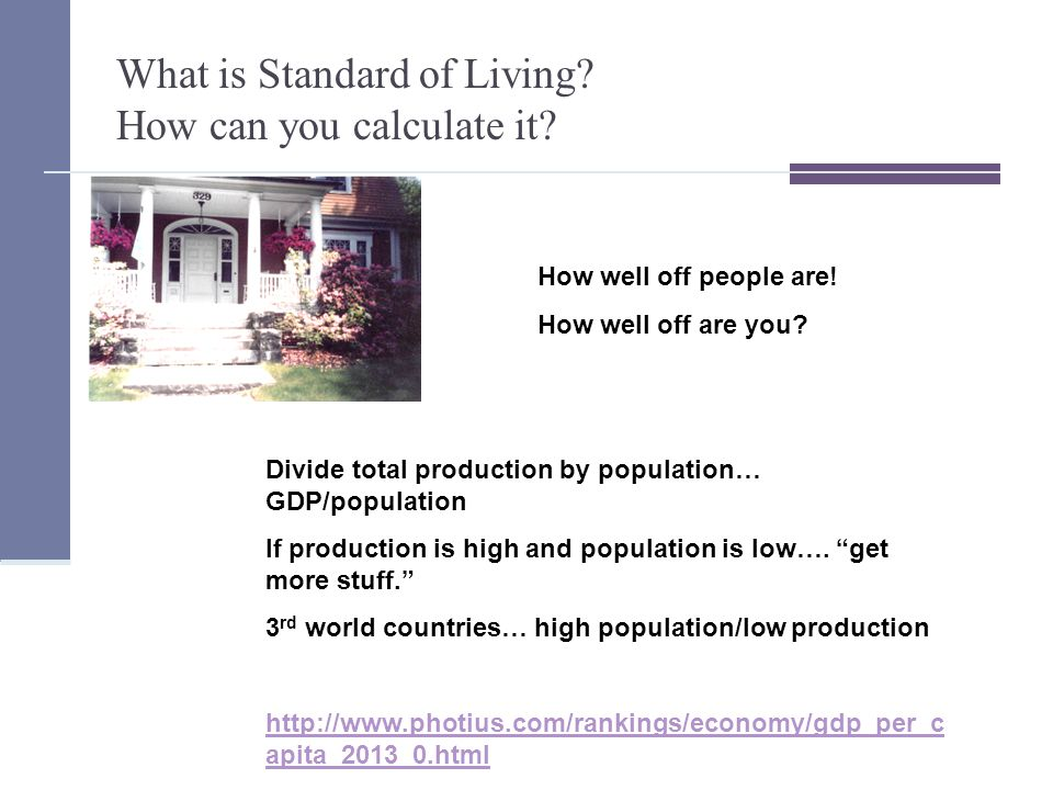 What is Standard of Living. How can you calculate it.