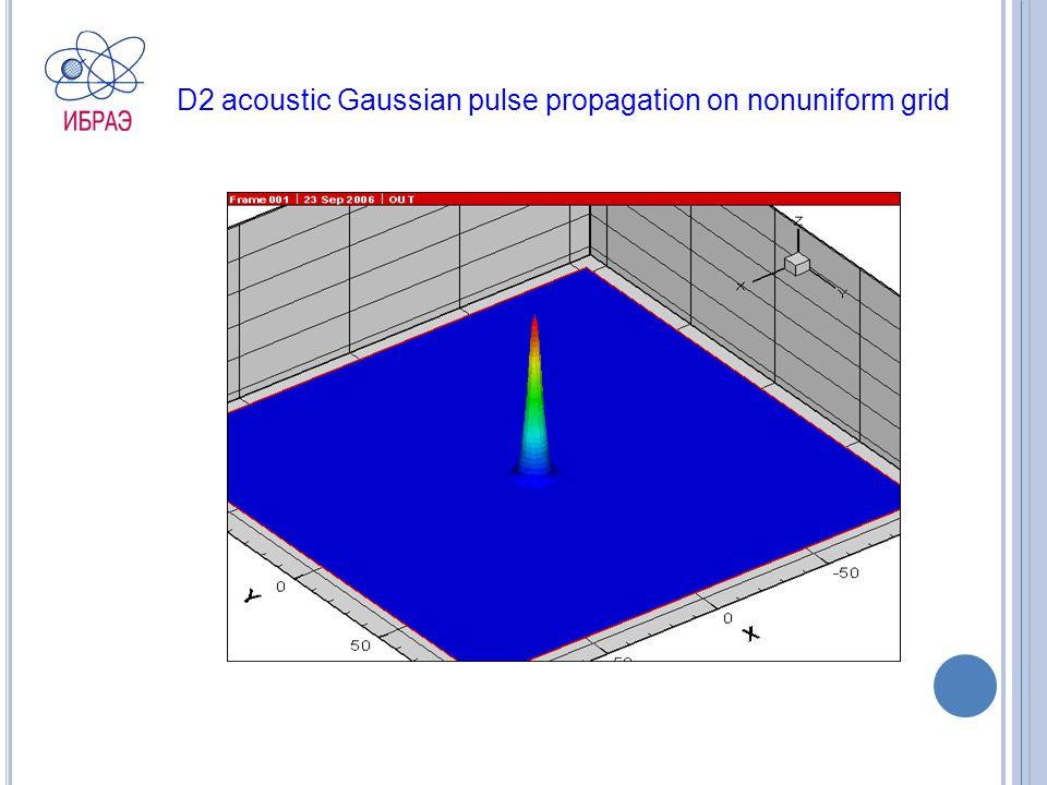 D2 acoustic Gaussian pulse propagation on nonuniform grid