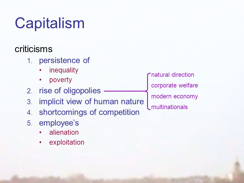 Capitalism criticisms 1. persistence of inequality poverty 2.