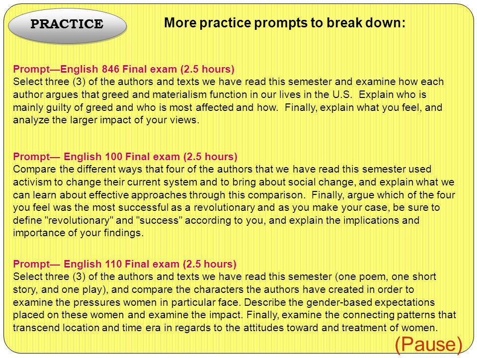 Prompt—English 846 Final exam (2.5 hours) Select three (3) of the authors and texts we have read this semester and examine how each author argues that