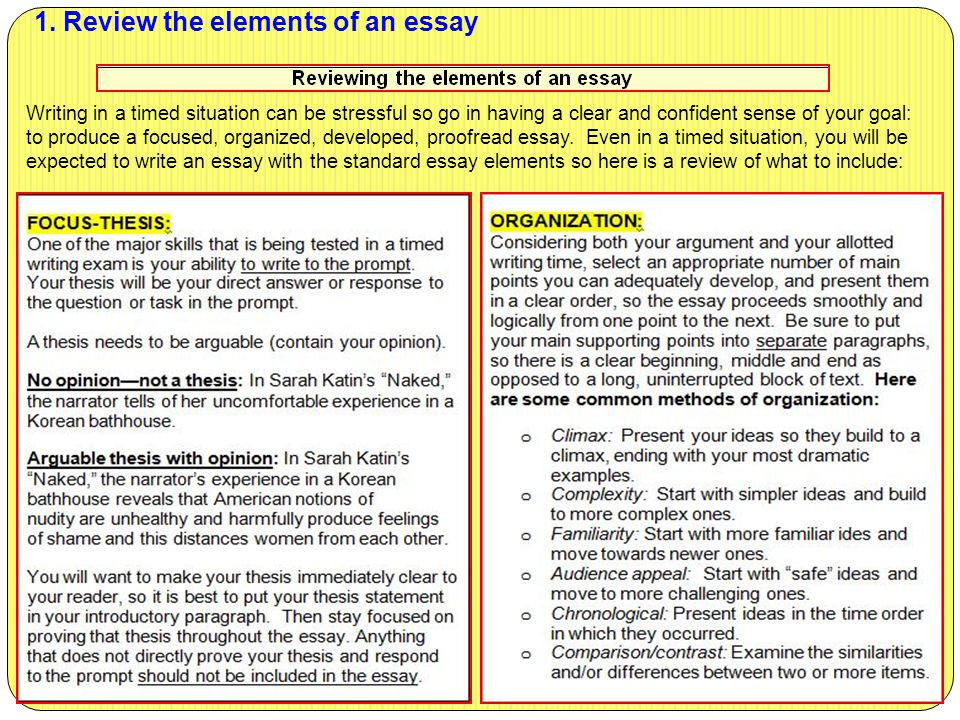 1. Review the elements of an essay Writing in a timed situation can be stressful so go in having a clear and confident sense of your goal: to produce