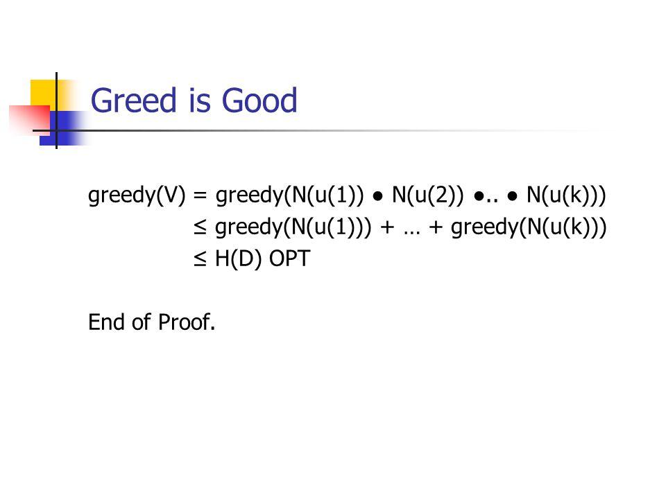 Greed is Good greedy(V) = greedy(N(u(1)) ● N(u(2)) ●..