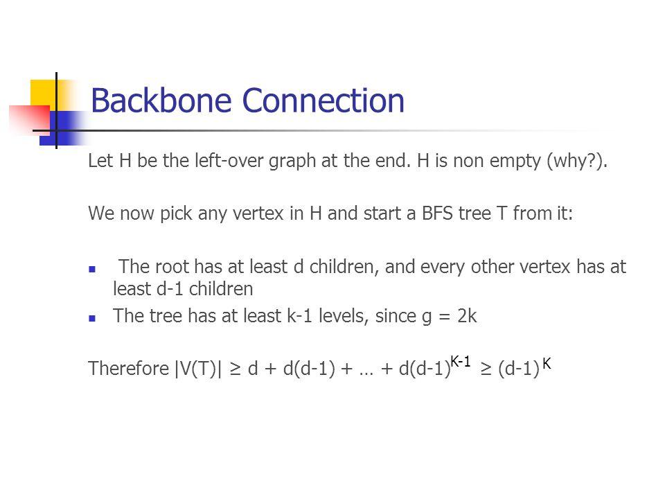 Backbone Connection But  V(T)  ≤ n, so that d ≤ n + 1 Recalling that d=m/n, the claim follows. 1/k