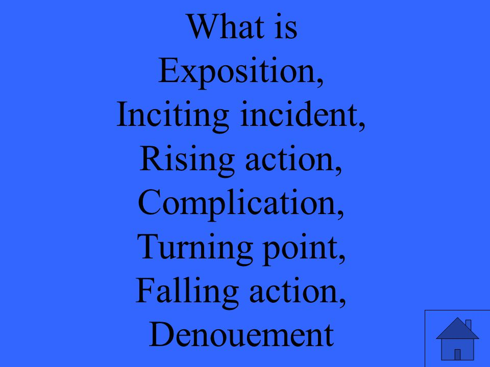 What is Exposition, Inciting incident, Rising action, Complication, Turning point, Falling action, Denouement