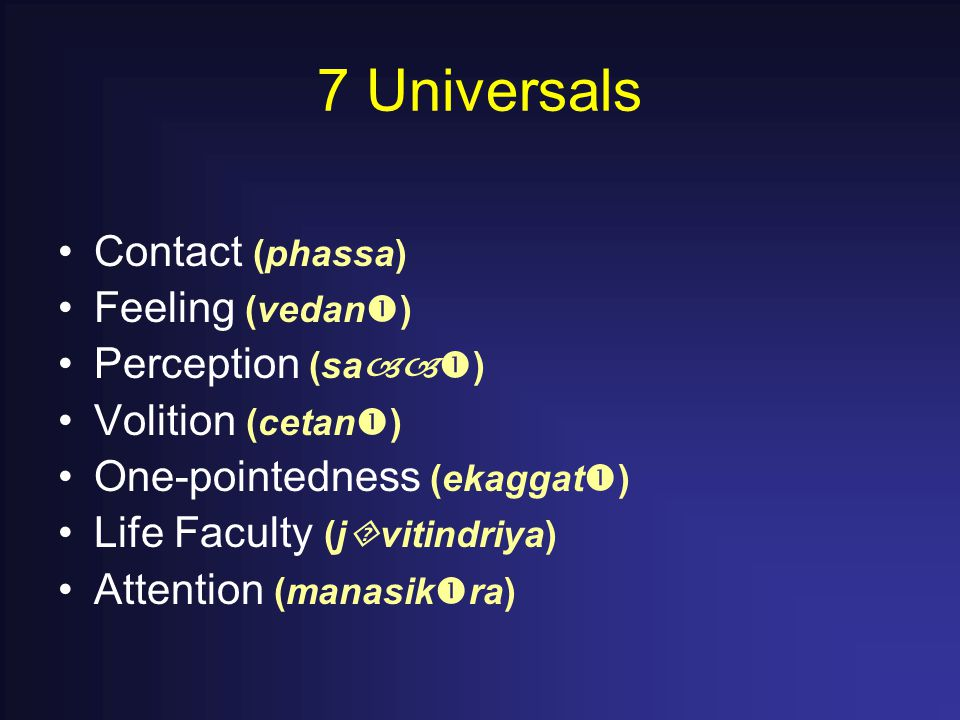 7 Universals Contact (phassa) Feeling (vedan  ) Perception (sa  ) Volition (cetan  ) One-pointedness (ekaggat  ) Life Faculty (j  vitindriya) Attention (manasik  ra)