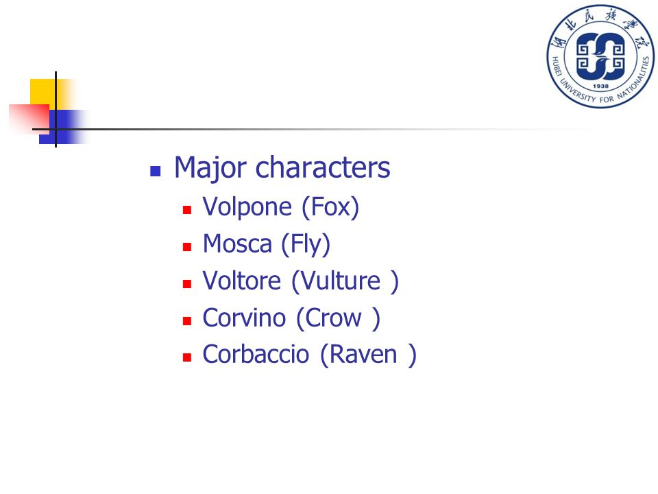 Major characters Volpone (Fox) Mosca (Fly) Voltore (Vulture ) Corvino (Crow ) Corbaccio (Raven )