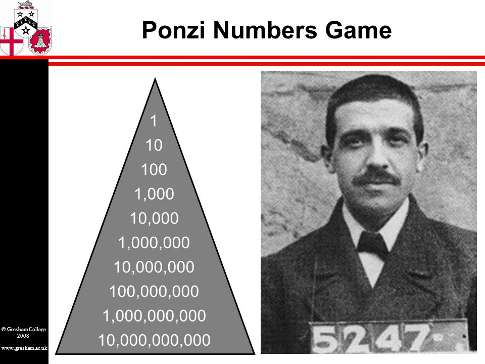 www.gresham.ac.uk © Gresham College 2008 Ponzi Numbers Game 1 10 100 1,000 10,000 1,000,000 10,000,000 100,000,000 1,000,000,000 10,000,000,000