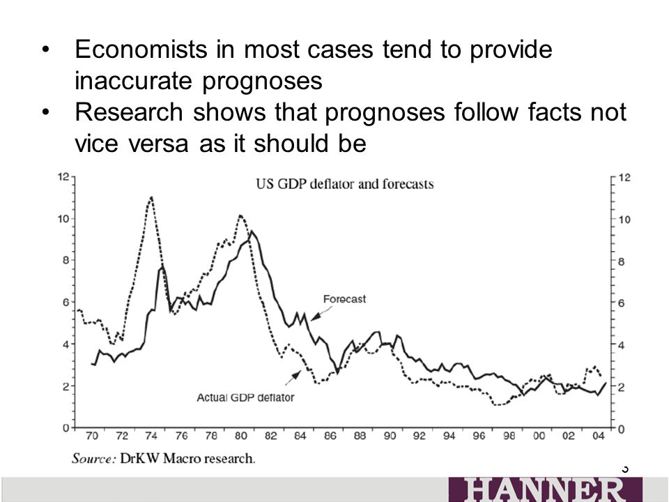 33 Economists in most cases tend to provide inaccurate prognoses Research shows that prognoses follow facts not vice versa as it should be