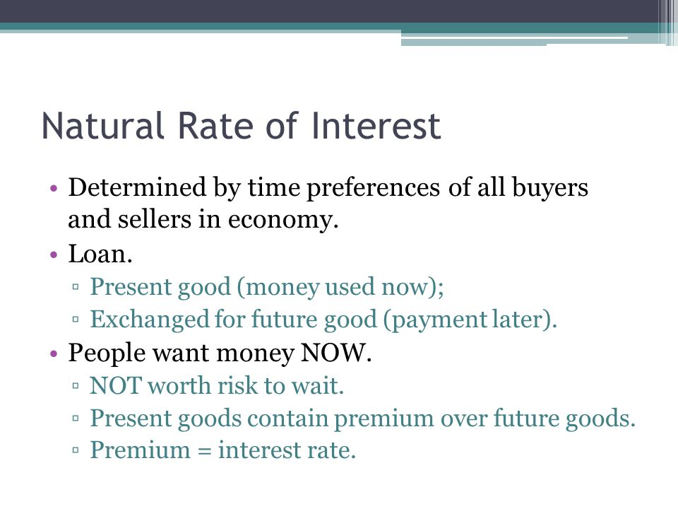 Natural Rate of Interest Determined by time preferences of all buyers and sellers in economy.