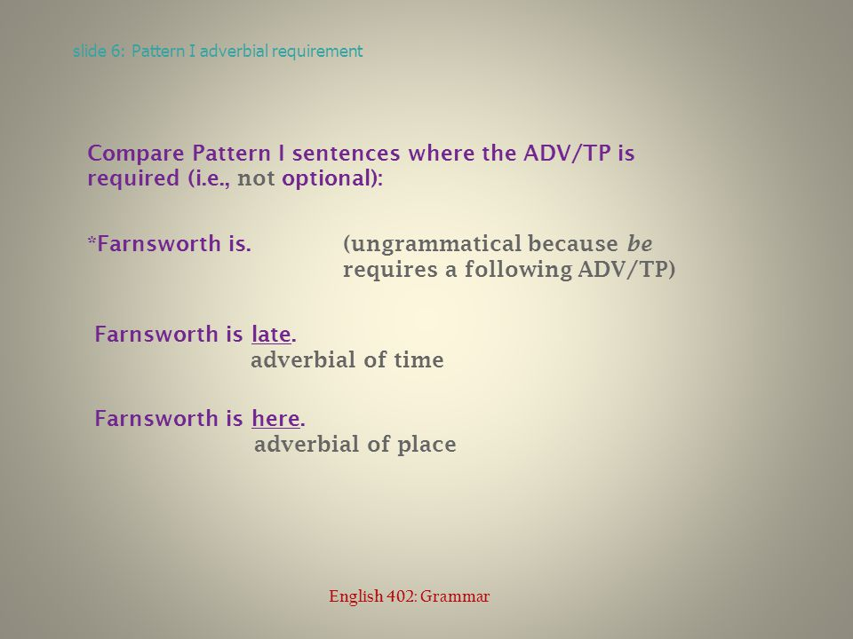 Compare Pattern I sentences where the ADV/TP is required (i.e., not optional): *Farnsworth is.
