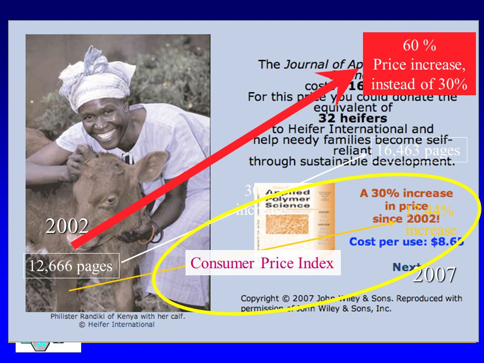2002 2007 12,666 pages 16,463 pages 30% increase Consumer Price Index 17.44% increase 60 % Price increase, instead of 30%
