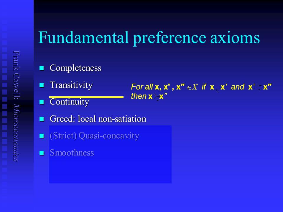 Frank Cowell: Microeconomics Fundamental preference axioms Completeness Completeness Transitivity Transitivity Continuity Continuity Greed: local non-