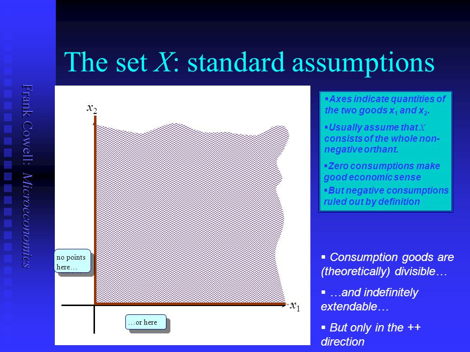 Frank Cowell: Microeconomics The set X: standard assumptions x1x1   Axes indicate quantities of the two goods x 1 and x 2. x2x2   Usually assume t