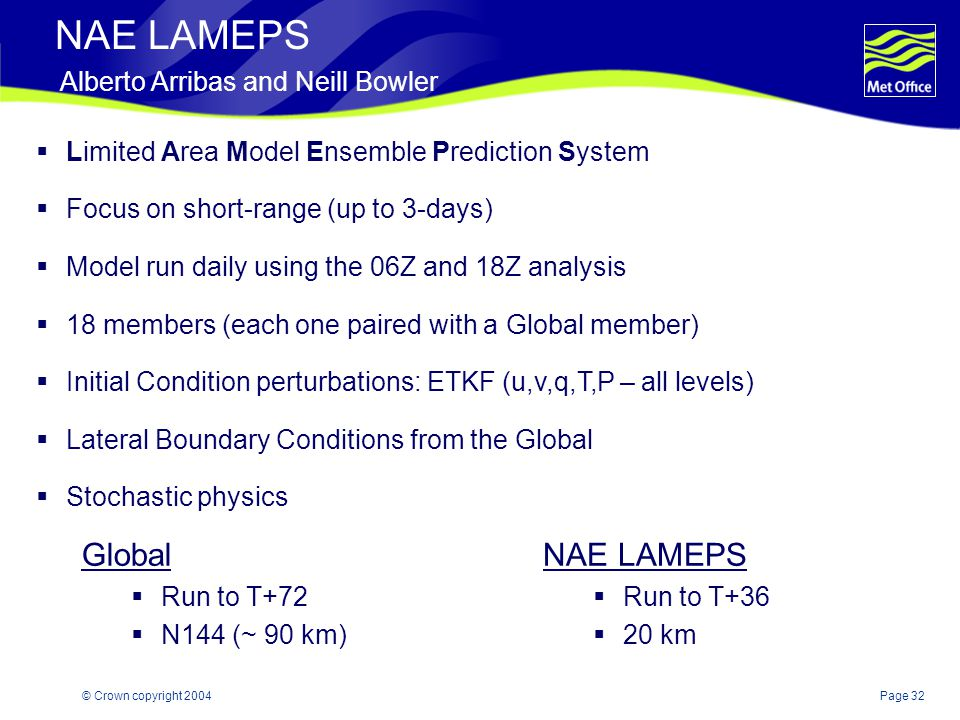 Page 32© Crown copyright 2004 NAE LAMEPS Alberto Arribas and Neill Bowler Global  Run to T+72  N144 (~ 90 km) NAE LAMEPS  Run to T+36  20 km  Limited Area Model Ensemble Prediction System  Focus on short-range (up to 3-days)  Model run daily using the 06Z and 18Z analysis  18 members (each one paired with a Global member)  Initial Condition perturbations: ETKF (u,v,q,T,P – all levels)  Lateral Boundary Conditions from the Global  Stochastic physics
