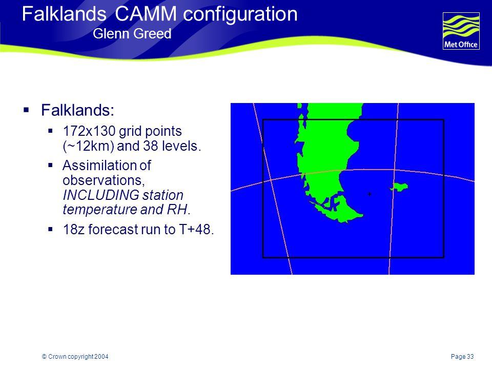 Page 33© Crown copyright 2004 Falklands CAMM configuration Glenn Greed  Falklands:  172x130 grid points (~12km) and 38 levels.