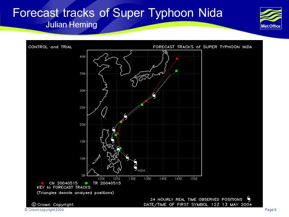 Page 8© Crown copyright 2004 Forecast tracksof Super Typhoon Nida Julian Heming