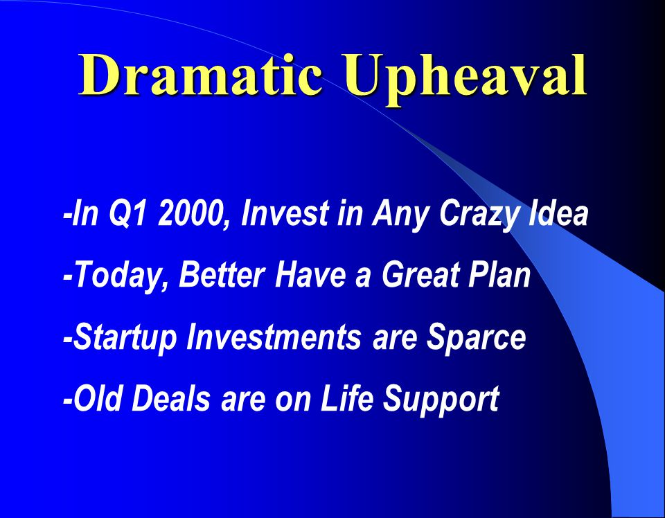 Dramatic Upheaval -In Q1 2000, Invest in Any Crazy Idea -Today, Better Have a Great Plan -Startup Investments are Sparce -Old Deals are on Life Support