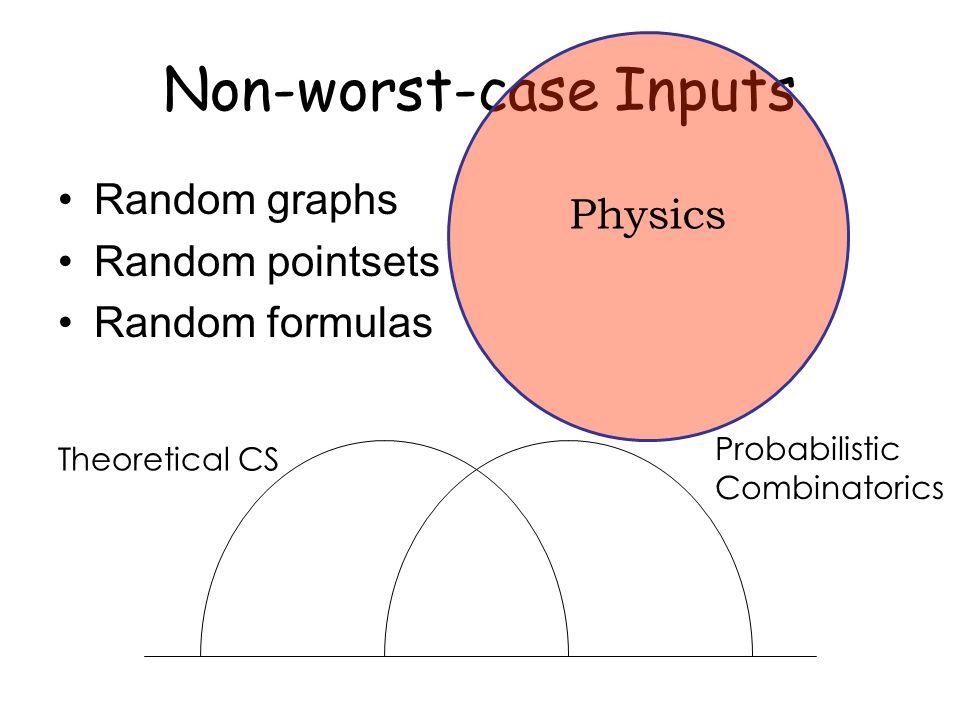 Non-worst-case Inputs Random graphs Random pointsets Random formulas Theoretical CS Probabilistic Combinatorics Physics