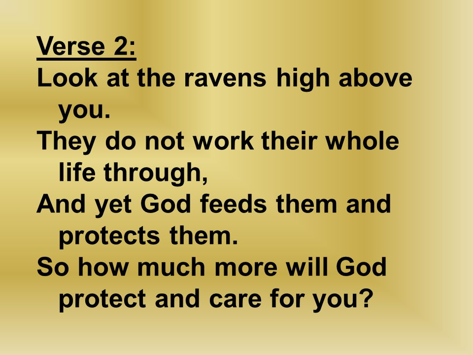 Verse 2: Look at the ravens high above you. They do not work their whole life through, And yet God feeds them and protects them. So how much more will