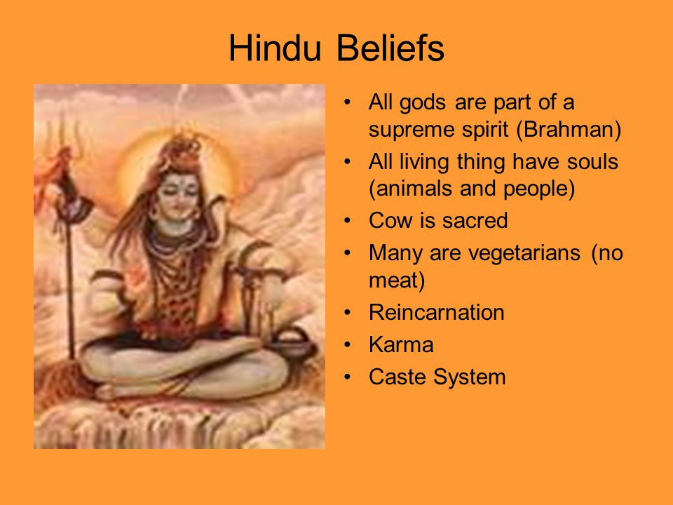 Hindu Beliefs All gods are part of a supreme spirit (Brahman) All living thing have souls (animals and people) Cow is sacred Many are vegetarians (no
