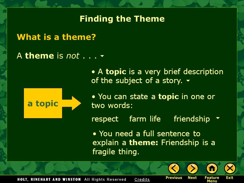 Finding the Theme A topic is a very brief description of the subject of a story.