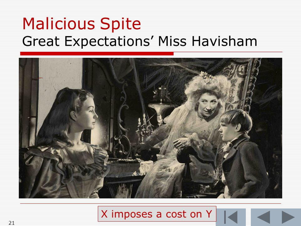 Malicious Spite Great Expectations' Miss Havisham 21 X imposes a cost on Y