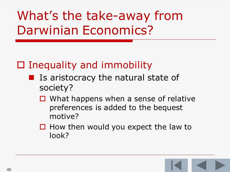 What's the take-away from Darwinian Economics.