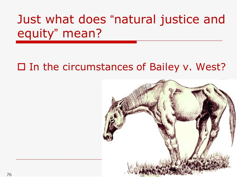 Just what does natural justice and equity mean?  In the circumstances of Bailey v. West? 76