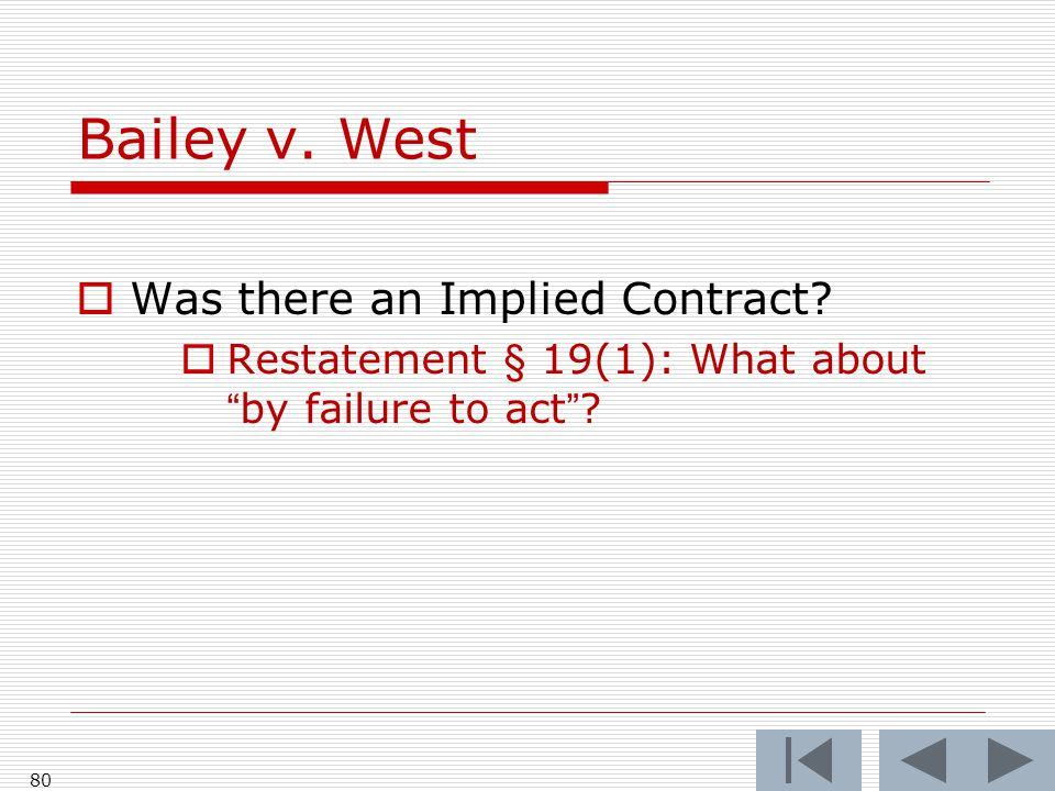 Bailey v. West 80  Was there an Implied Contract.