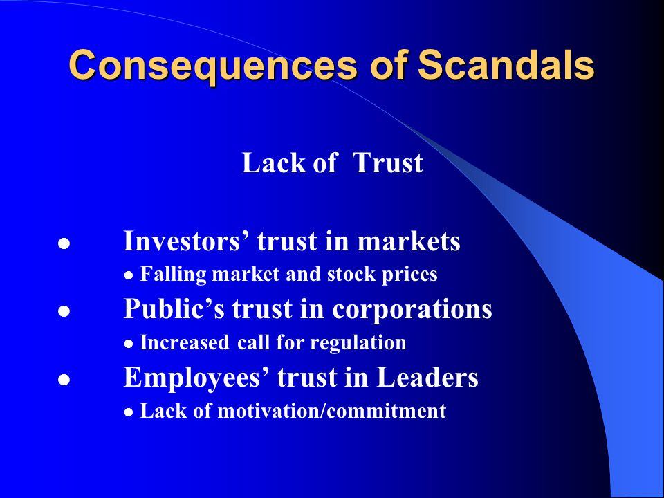 Consequences of Scandals Lack of Trust Investors' trust in markets Falling market and stock prices Public's trust in corporations Increased call for regulation Employees' trust in Leaders Lack of motivation/commitment