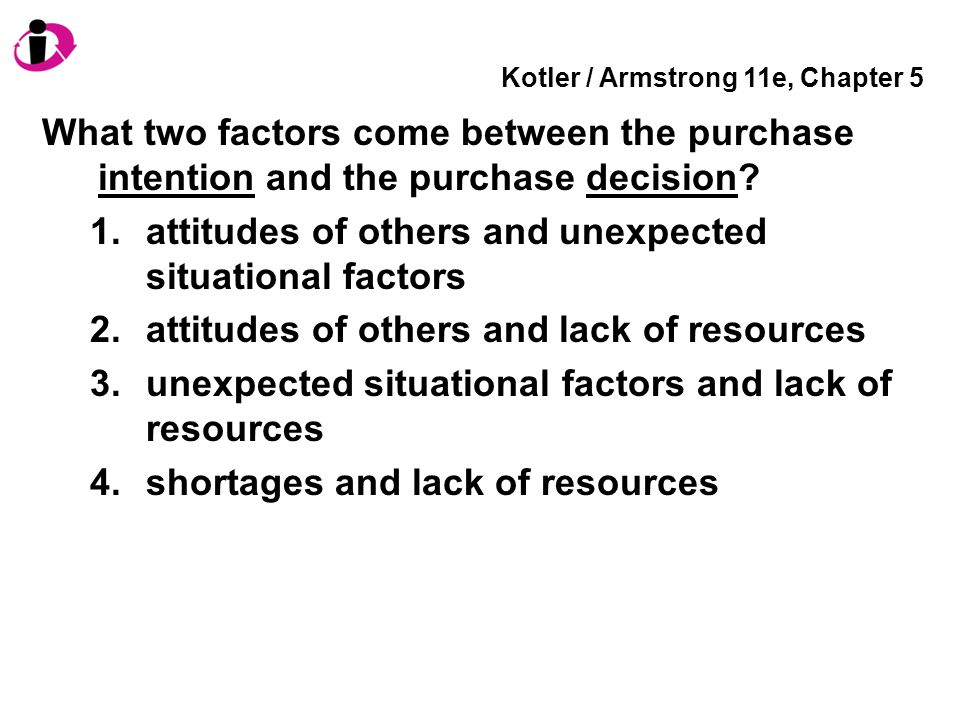 Kotler / Armstrong 11e, Chapter 5 What two factors come between the purchase intention and the purchase decision? 1.attitudes of others and unexpected