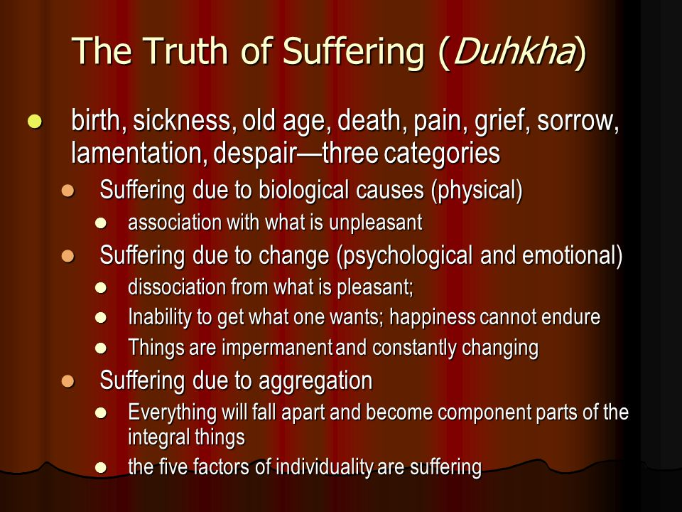 The Truth of Suffering (Duhkha) birth, sickness, old age, death, pain, grief, sorrow, lamentation, despair—three categories birth, sickness, old age,