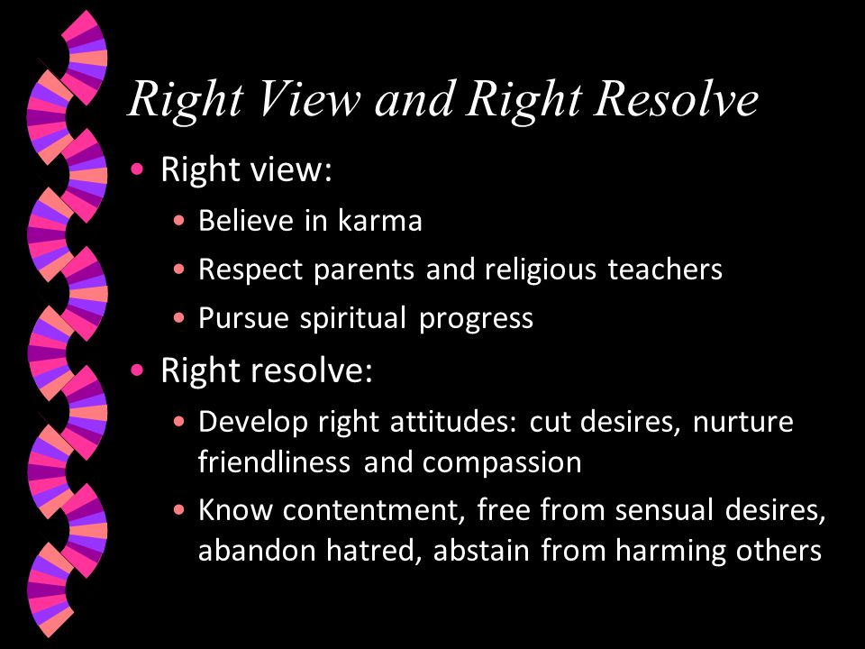 Right View and Right Resolve Right view: Believe in karma Respect parents and religious teachers Pursue spiritual progress Right resolve: Develop righ