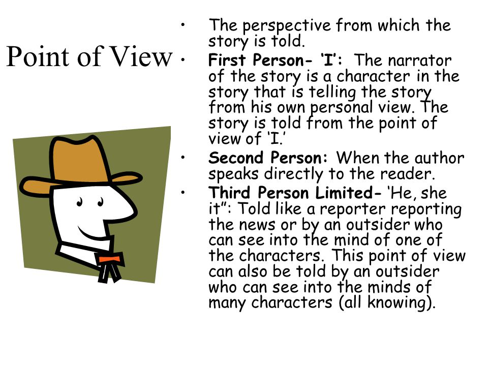 Point of View The perspective from which the story is told.