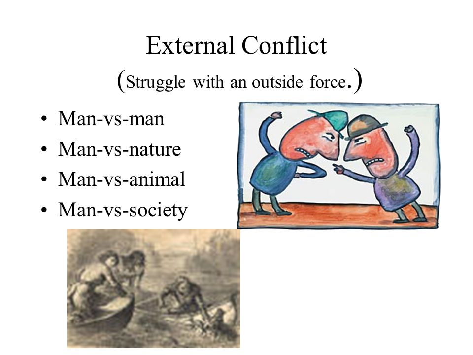 External Conflict ( Struggle with an outside force.) Man-vs-man Man-vs-nature Man-vs-animal Man-vs-society