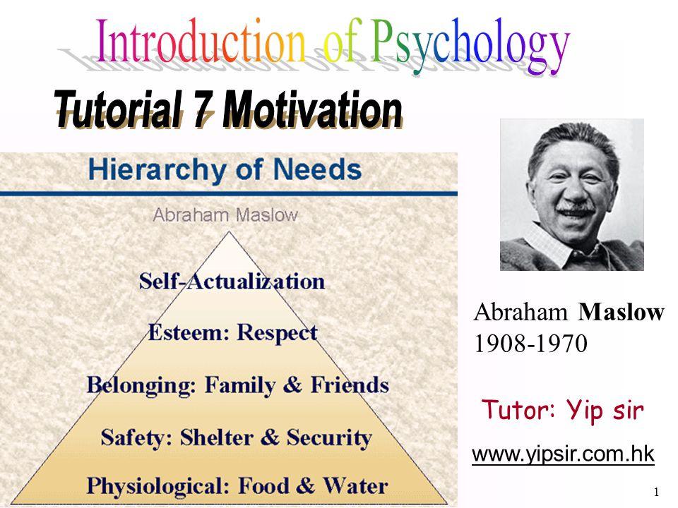 1 www.yipsir.com.hk Tutor: Yip sir Abraham Maslow 1908-1970