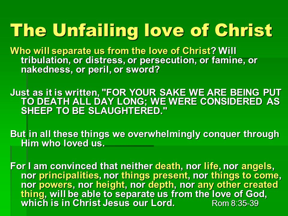 The Unfailing love of Christ Who will separate us from the love of Christ.