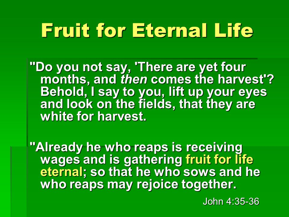 Fruit for Eternal Life Do you not say, There are yet four months, and then comes the harvest .