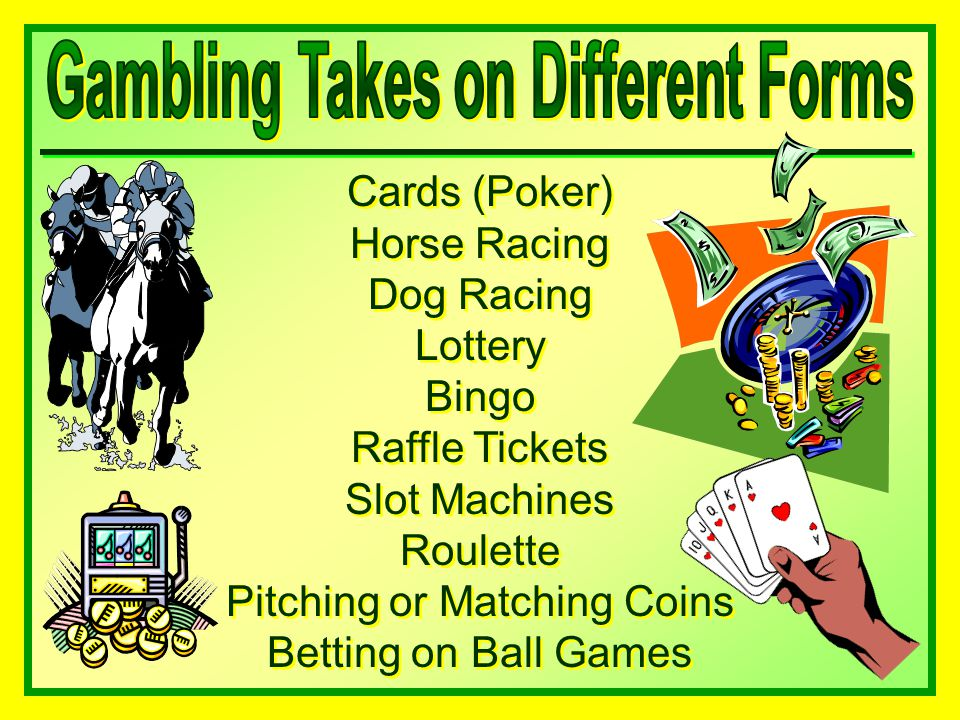 Cards (Poker) Horse Racing Dog Racing Lottery Bingo Raffle Tickets Slot Machines Roulette Pitching or Matching Coins Betting on Ball Games Cards (Poker) Horse Racing Dog Racing Lottery Bingo Raffle Tickets Slot Machines Roulette Pitching or Matching Coins Betting on Ball Games
